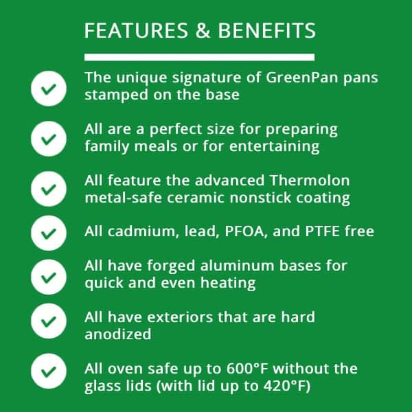 Greenpan cookware reviews, 6 ceramic nonstick designs, Pros of GreenPan Cookware