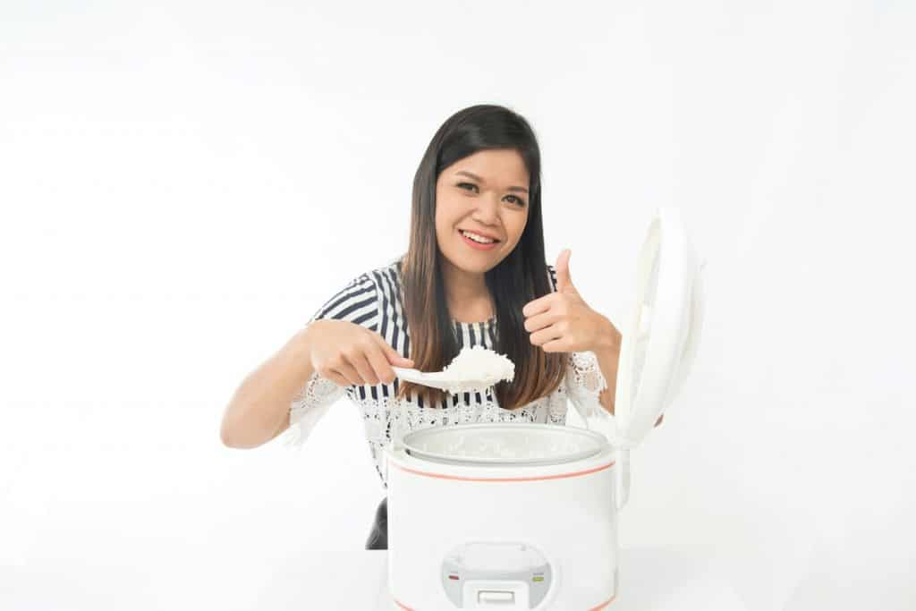do this if rice cooker burns rice, being happy with the result