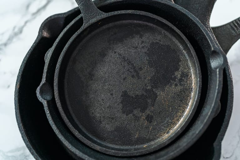 black residue on cast iron skillet