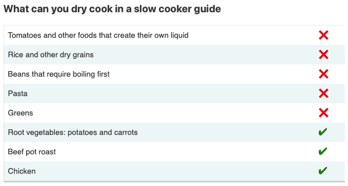 chart of what can you dry cook in a slow cooker as a guide