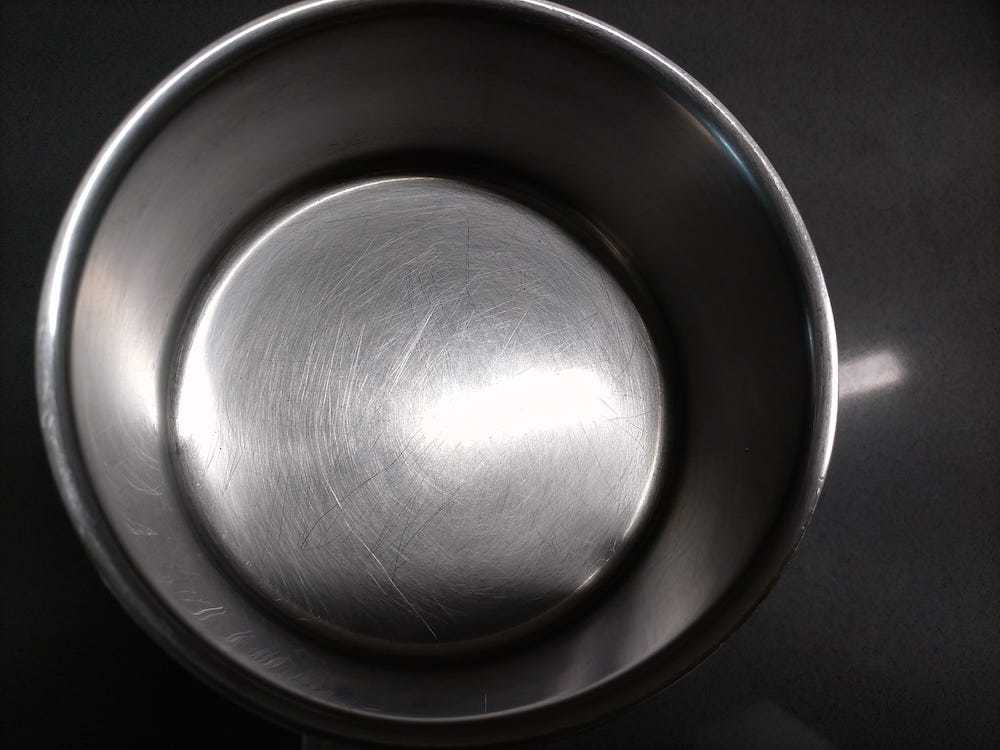 result of clean stainless steel pot