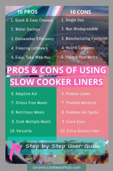 10 Pros and Cons of Slow Cooker Liners (aka crock pot liners). What to know before you buy slow cooker liners, aka crock pot liners. Weigh up the conveniences vs the costs. Plus step by step on how to use slow cooker liners, which are plastic bags that fit inside, between the food and the pot.