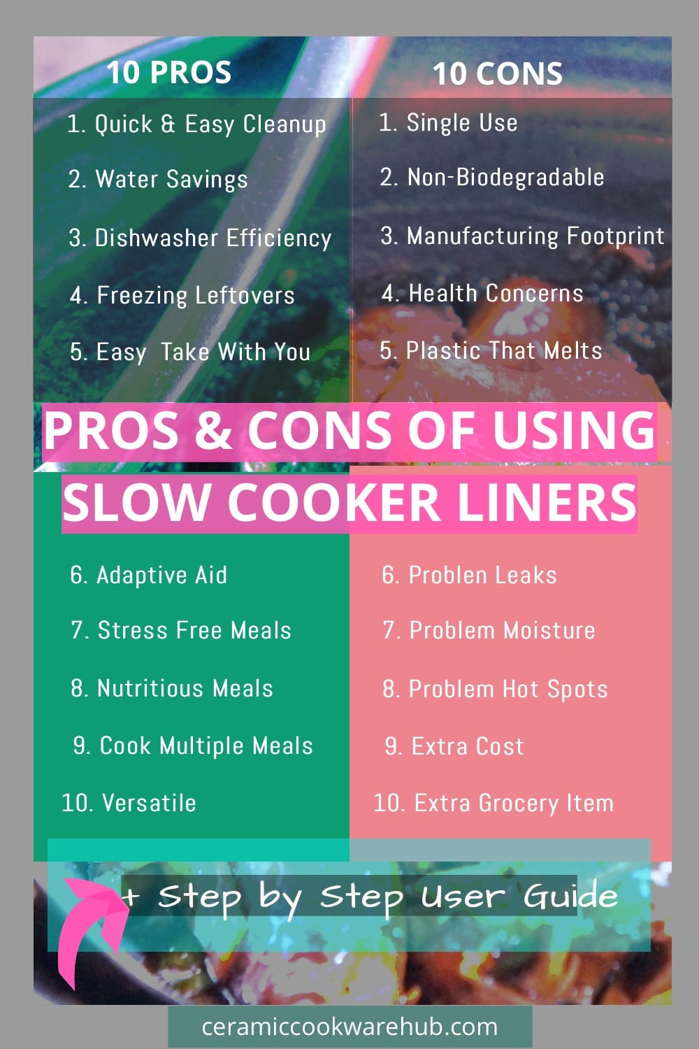 10 Pros and Cons of Slow Cooker Liners. What to know before you buy slow cooker liners, aka crock pot liners. Weigh up the conveniences vs the costs. Plus step by step on how to use slow cooker liners, which are plastic bags that fit inside, between the food and the pot.